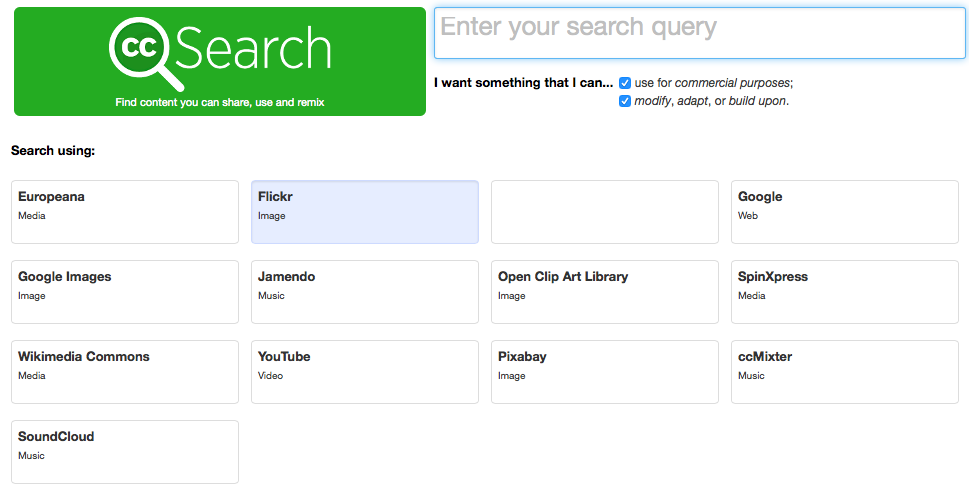 The Creative Commons search tool