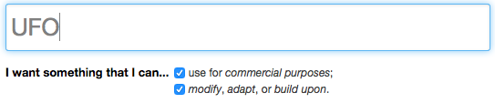 "The user has checked the boxes for ""use for commercial purposes"" and ""modify, adapt, or build upon"""