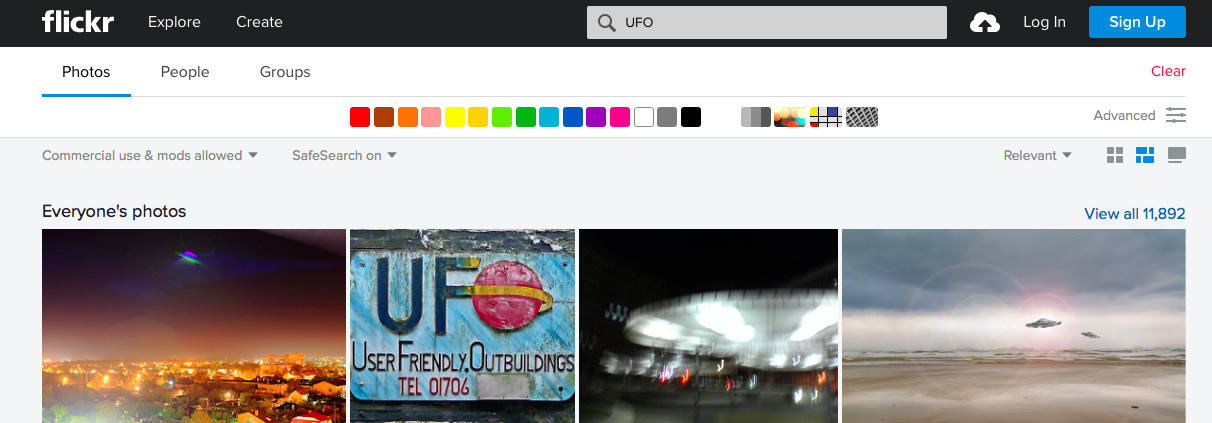 "A sample of search results for ""UFO"""