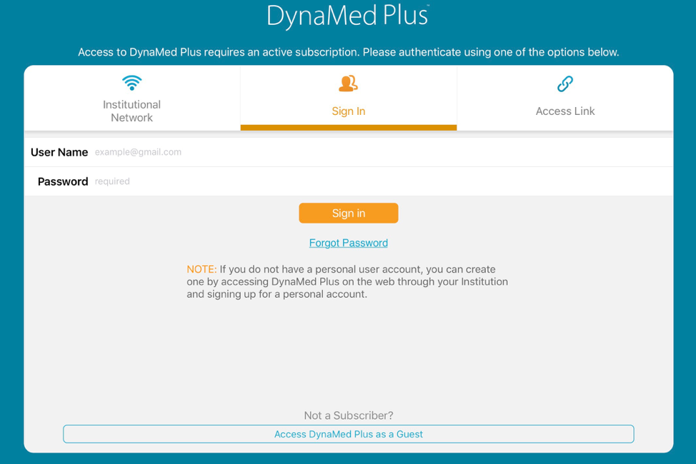DynaMed Plus agg login screen