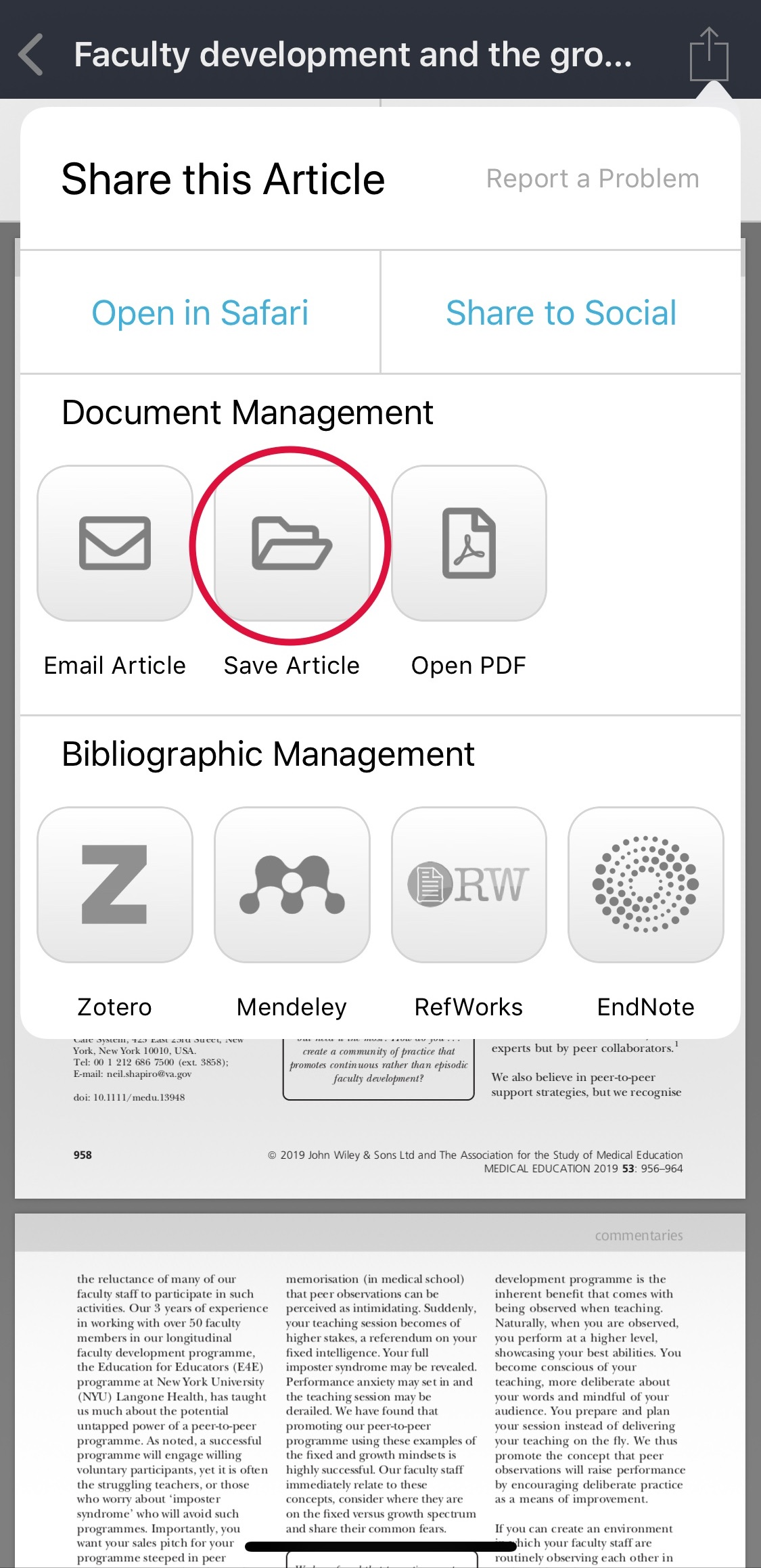 Example of article in view in BrowZine mobile app with sharing options highlighted.
