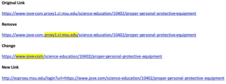Example of creating a JoVE Science Education stable link