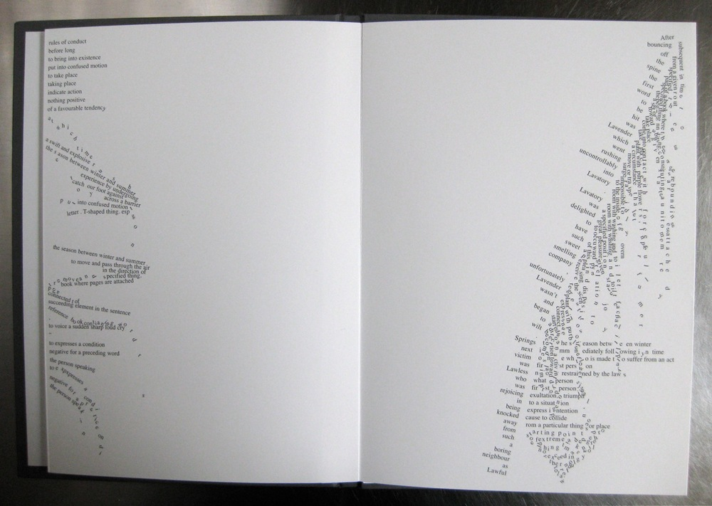 A spread from Dictionary Story, a work in which typography is used experimentally.