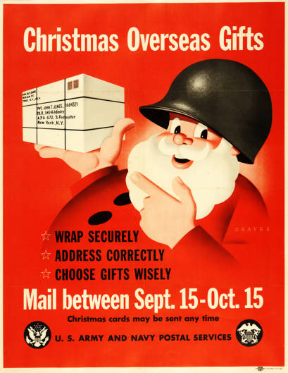 American poster from World War II with dates for mailing overseas Christmas gifts
