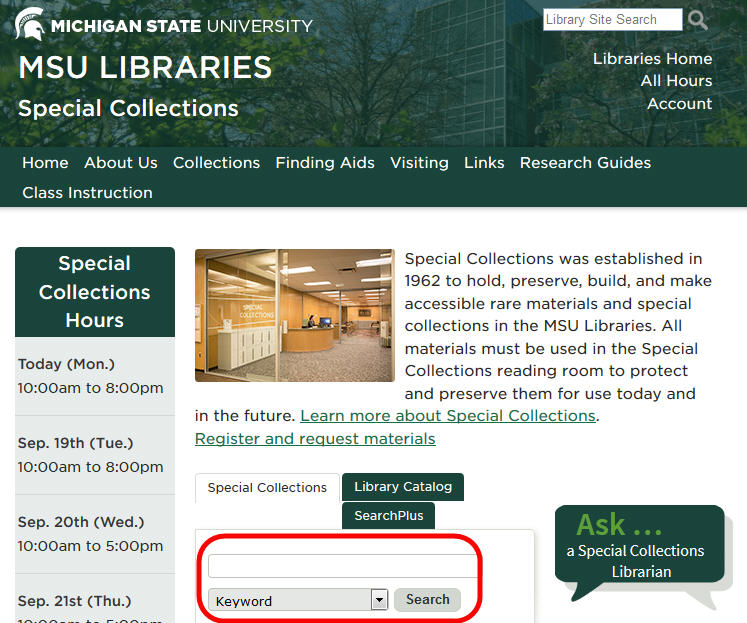 Screenshot of the Special Collections homepage with the search box highlighted.