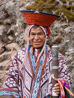 An Andean man in traditional dress. Pisac, Peru.