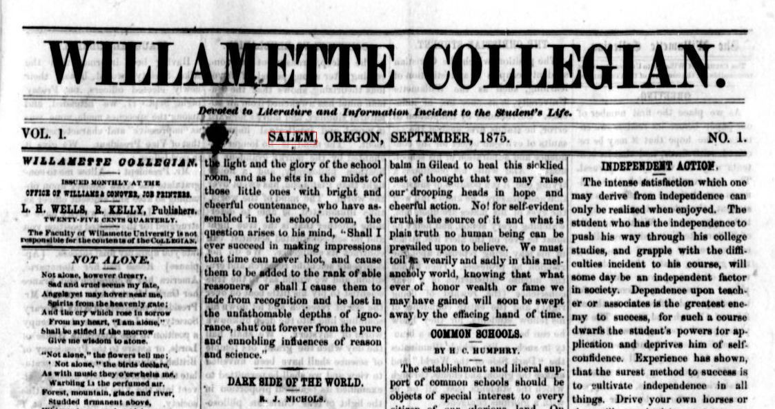 First issue of THE COLLEGIAN In 1875