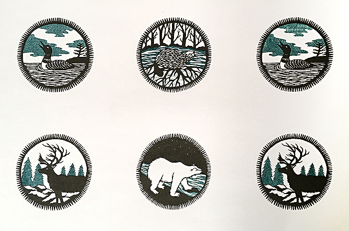 Example of an risograph print including images of an loon, polar bear, deer and beaver created by Marta Chudolinska.