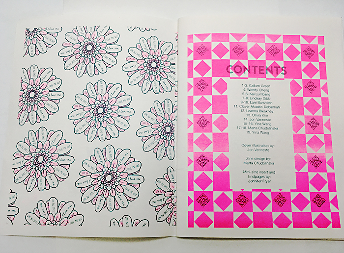 Flower petals with text, I love me, i love me not created by Jennifer Frye. Contents with geometric patterns and text of contributing creators by Callum Green.