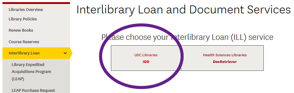 Interlibrary Loan and Document Services - IDD