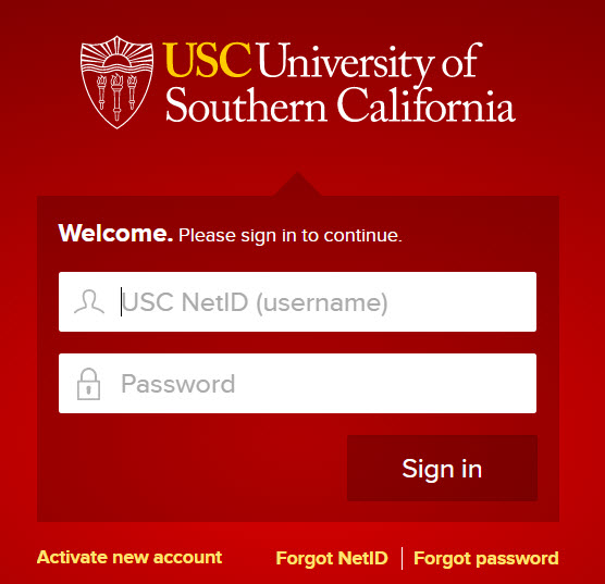 USC Log In page