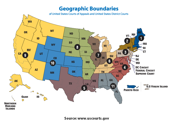 Map of U.S. Courts of Appeals & District Courts