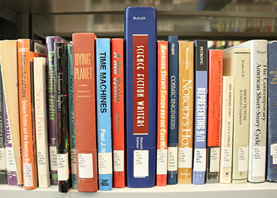 Fiction books at Barber Library