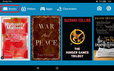 Kindle HD7 Books Screenshot