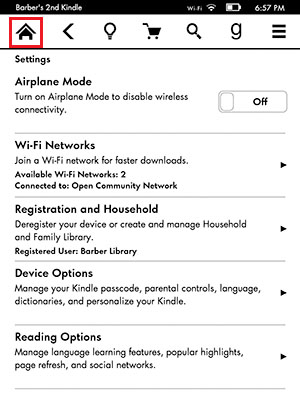 Kindle Paperwhite Home Screenshot