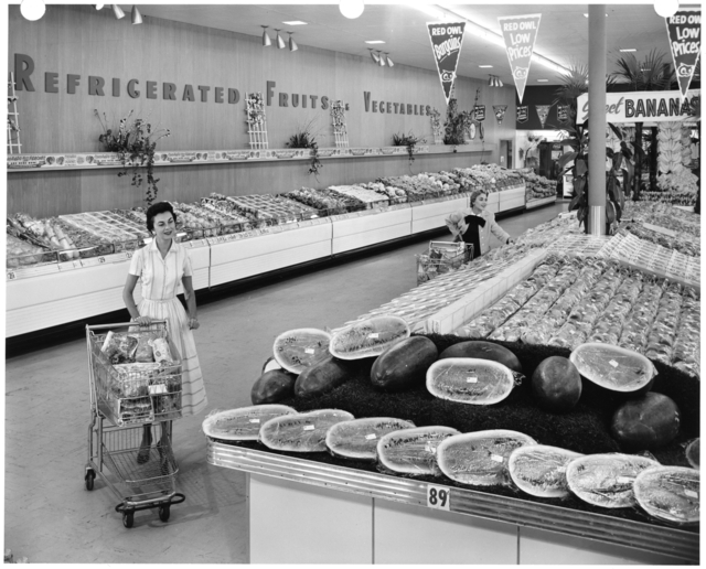 Women shopping in Red Owl grocery store