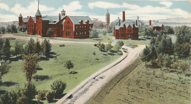 Color postcard of State public school, Owatonna, approx. 1906.