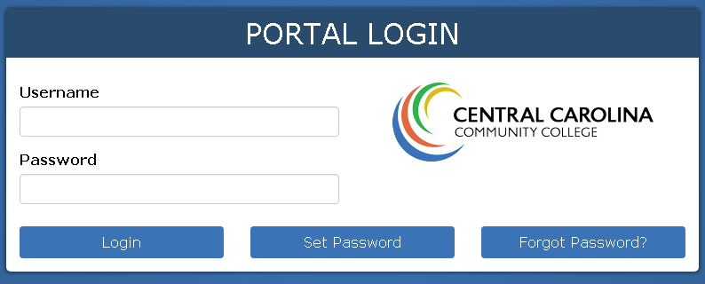 CCCC Portal login screen