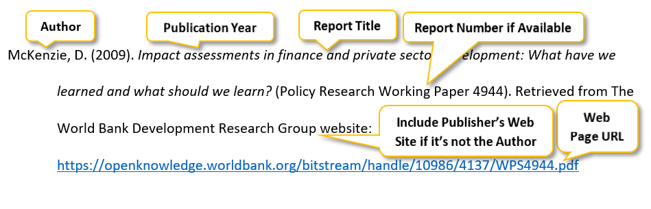 McKenzie comma D period (2009) period Impact assessments in finance and private sector development colon What have we learned and what should we learn question mark (Policy Research Working Paper 4944) period Retrieved from The World Bank Development Research Group website colon https colon //openknowledge dot worldbank dot org/bitstream/handle/10986/4137/WPS4944 dot pdf