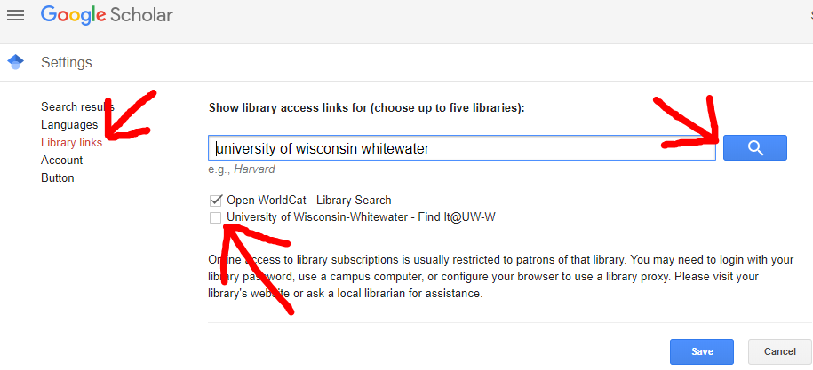 Showing the Library Links option, the search box for UW Whitewater, and the checkbox to save UW Whitewater as one's school