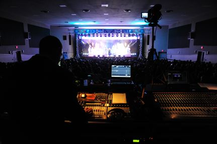 Typical sound board and recording equipment at a public performance