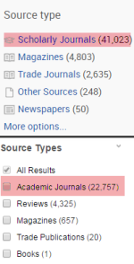 Source type limits in EBSCO and ProQuest