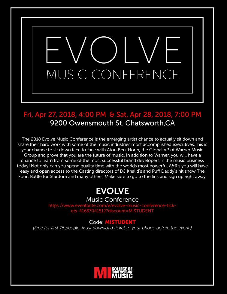 EVOLVE MUSIC CONFERENCE FRIDAY, APRIL 27, 2018, 4 – 7PM