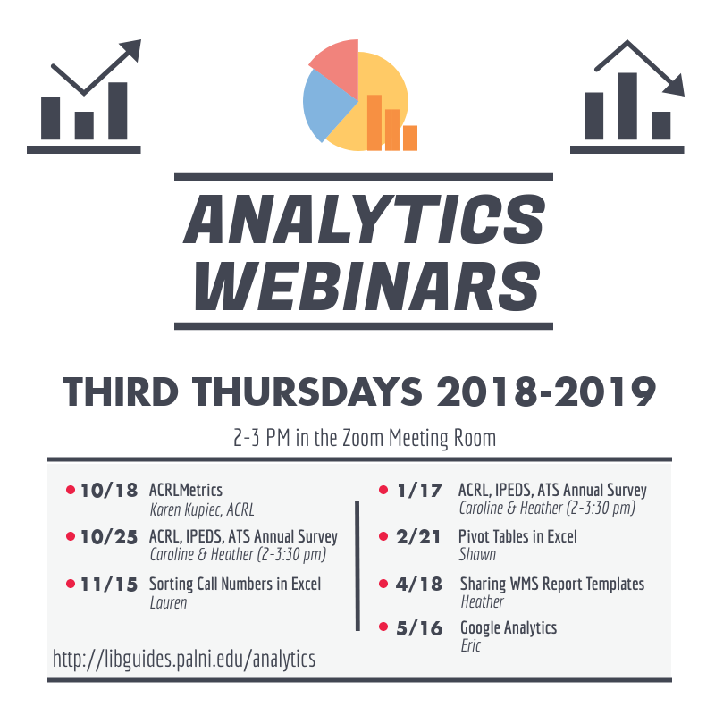 promo image with dates and topics for analytics webinars 2018-2019