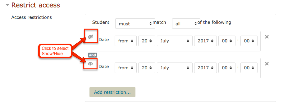 screenshot moodle restrict access show hide icons