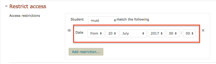 moodkle screenshot set date to restrict access