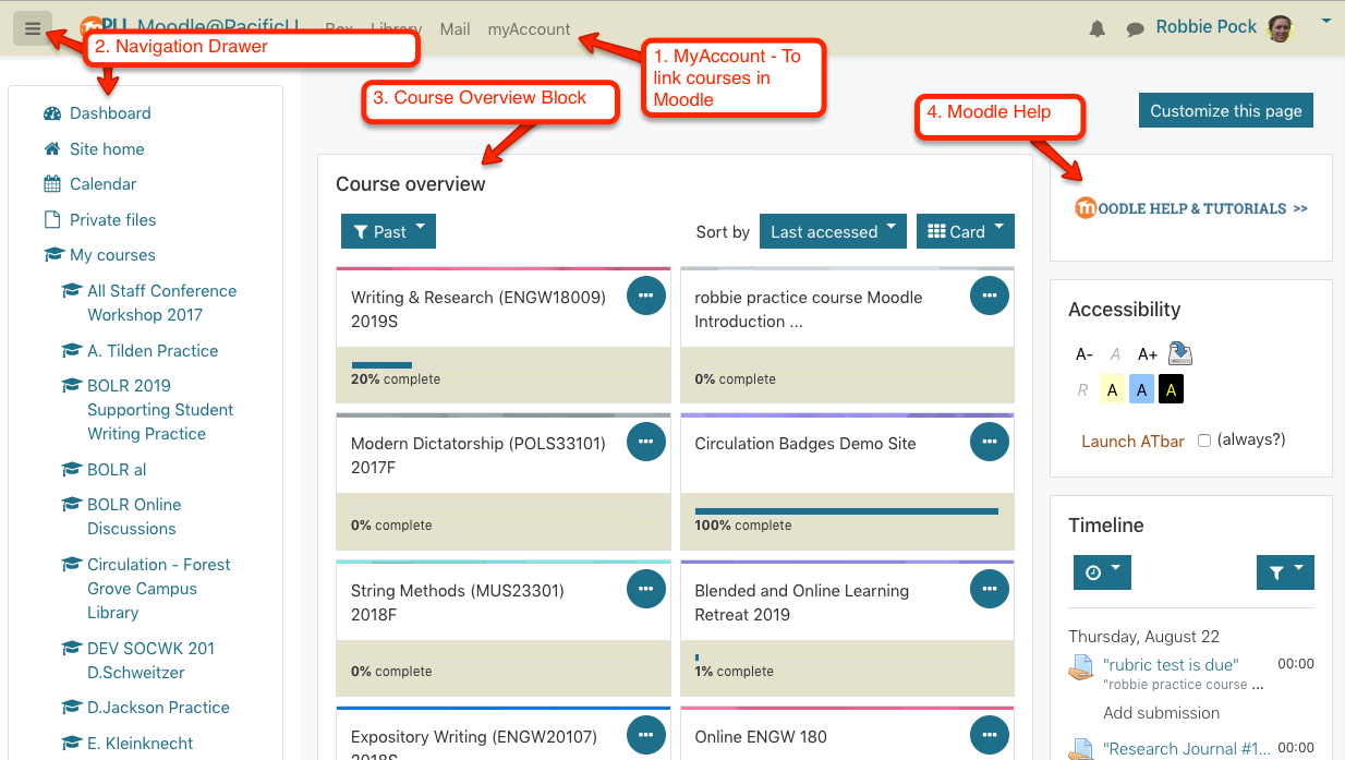 Moodle Dashboard view 1