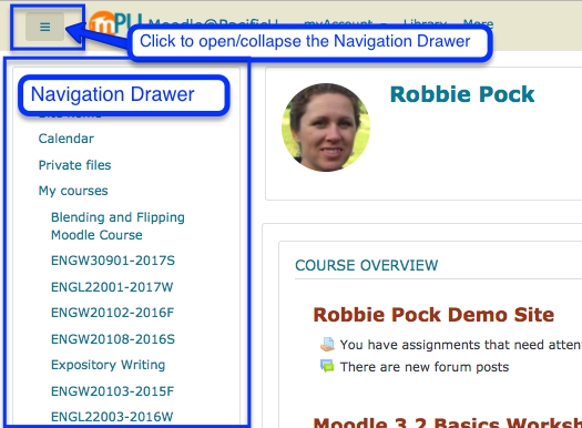 screenshot of Moodle home page Navigation Drawer