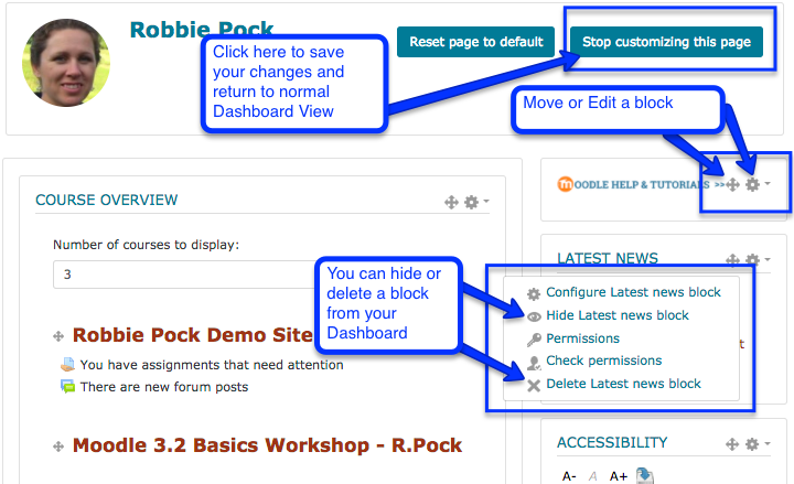 screen shot of how to edit a block Moodle page