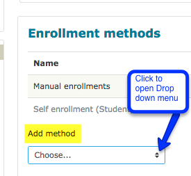 screenshot of moodle page enrollment methods page