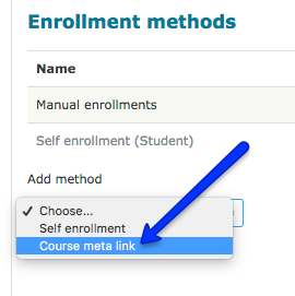 Screen shot of a moodle page drop down menu course meta link