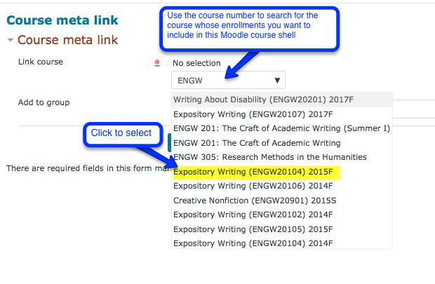 Screen shot of a moodle page course meta link