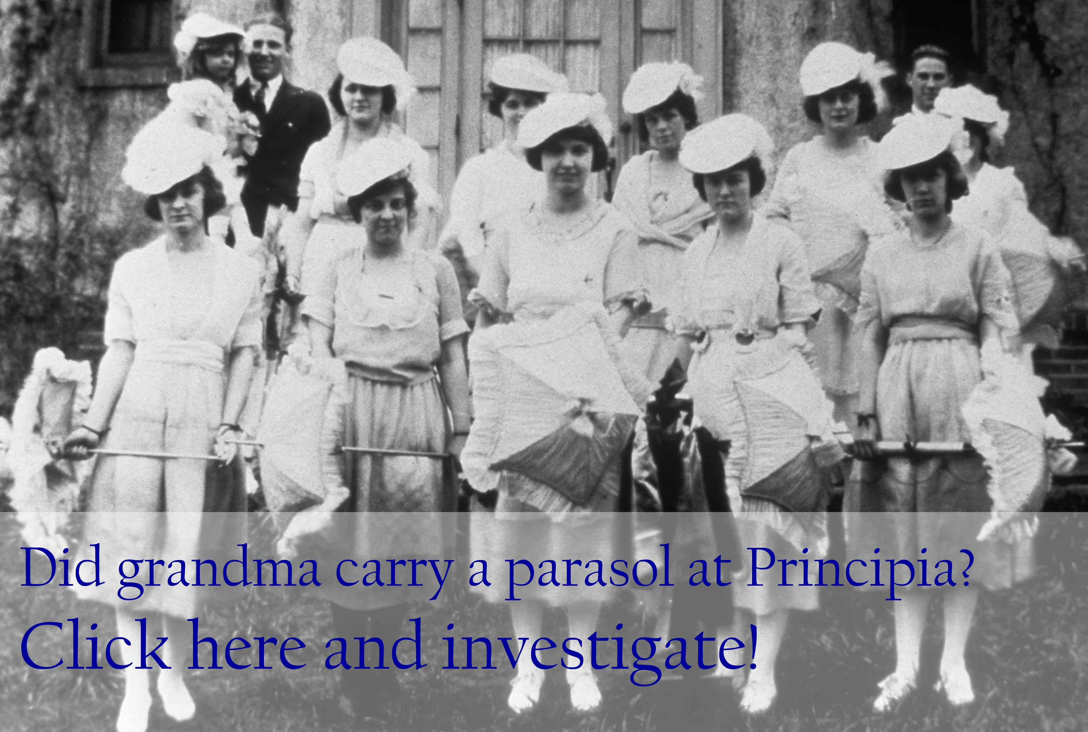 Principia women students with parasol