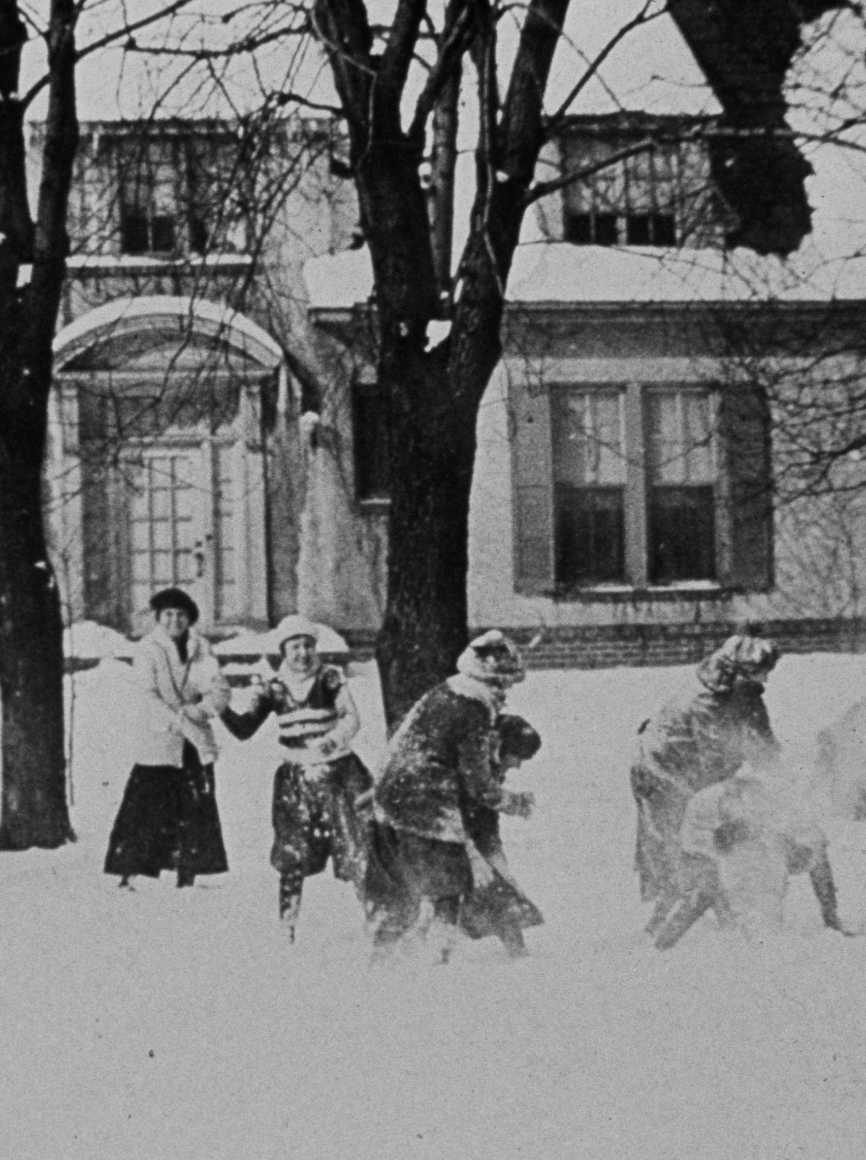 Snowball fight Page & Belt campus, c. 1915