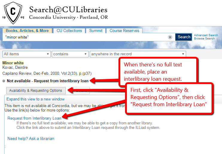 catalog screen shot showing steps to place an interlibrary loan request
