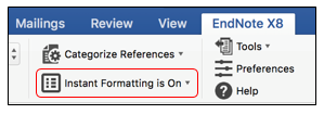 Instant Formatting option on EndNote X8 tab