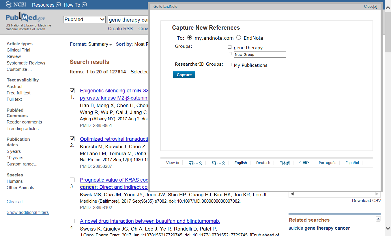 EndNote Capture PubMed example