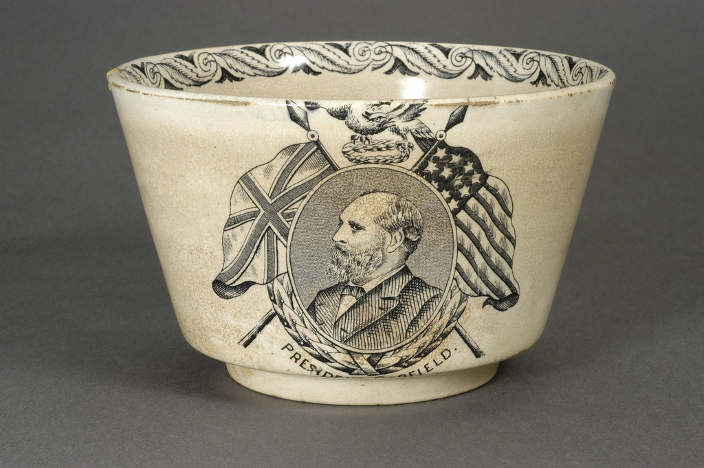 Bowl with an image of President Garfield flanked by two flags