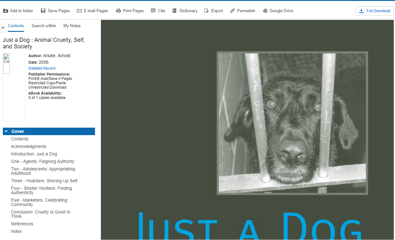 Just a Dog eBook opened for reading