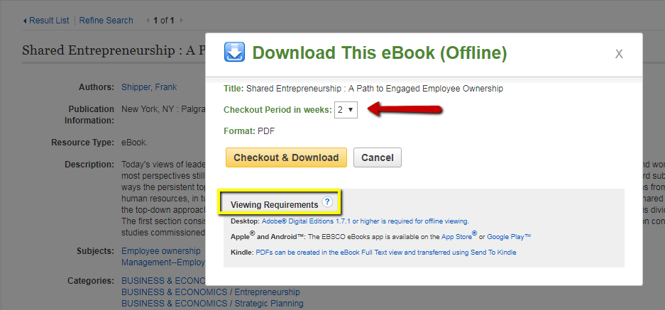 Choose your checkout period and look at the viewing requirements before download the eBook.