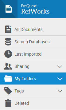 Where to find My Folders in RefWorks