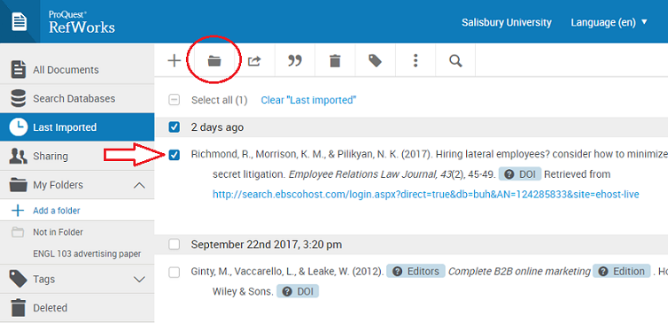 Select a citation to assign a folder, and click the folder icon.