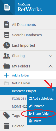 Sharing a folder in RefWorks