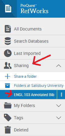 Viewing shared folders in RefWorks