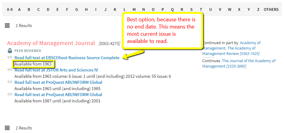 Journal record with list of databases that provide online access to that journal.