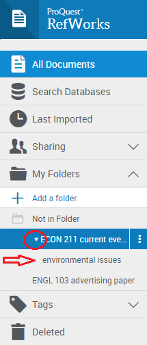 Hide or view any subfolders by clicking the arrow next to a main folder.